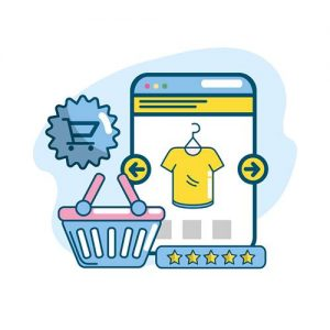 marketing plan strategy with shopping online vector illustration